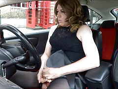 Marvelous Transvestite jacking out side the post office