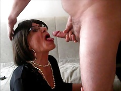 Deep throating and swallowing...