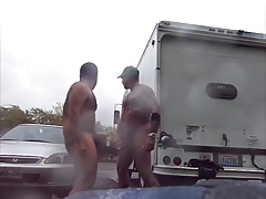 Men Highly Public Rainy Jerking in parking lot