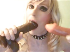 Crossdresser TV Sandra poses and  dildos