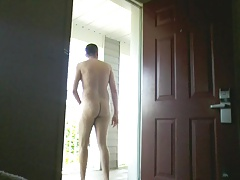 Stroking in public at motel outside