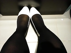 Milky Patent Pumps with Ebony Stockings Teaser 9