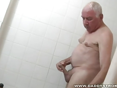 Bathroom And a Masturbate Off For Grandpa