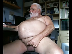 Ginormous  Grandpa Milks Off for the Camera