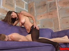 Molly Penetrates Her Cuck PEGGING Strap on dildo  PANTYHOSE