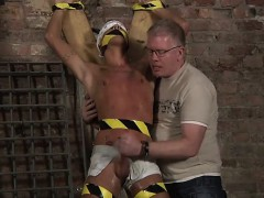 Spectacular men Gimp Fellow Made To Unload