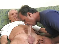 Indian father deep throating ginormous older cock