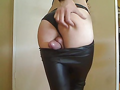 Exceptionally Red-hot SISSY Guy CUMS Hands-free IN LEATHER LEGGINGS!