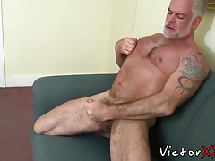 Fur covered father with fat fuckpole in solo