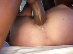Guy gets his backside banged by 2  cocks.