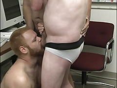 randy fag  deep-throat manmeat in the office