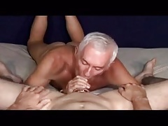 Older fellows throating a thick man rod