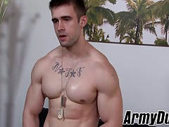 Fit and  soldier Mathias  his massive giant dick