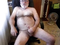 Wooly dad wolf stoking his shaft