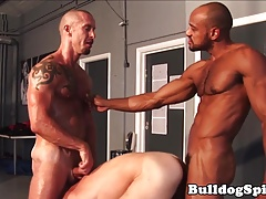 Gimp muscle hunk joins multiracial couple in 3
