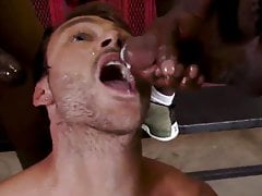 Nice milky stud takes dark-hued cum in facehole