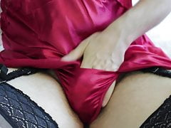 in and nutting on crimson satin chemise and g-string