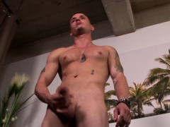Army specification twink Troi King spanks his meaty signal fire together with cums