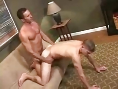 Father huge meatpipe barebacking his boy.